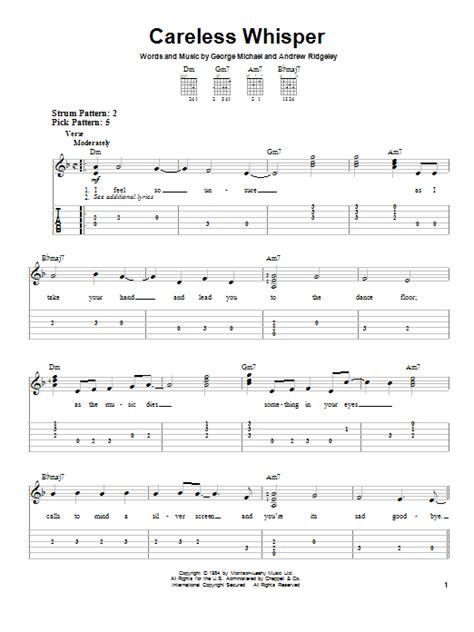 Play A Whisper On Pillow Lyrics Careless Whisper By George Michael Easy Guitar Tab