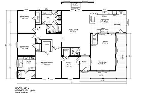 manufactured home floor plan manufactured home floor plan 207 karsten karsten 372a tr 94kar4572ah07s