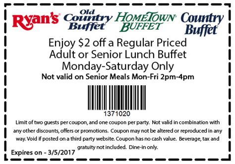 old country buffet coupons 2 off lunch at ryans