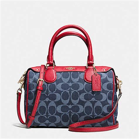 Tas Coach Mini Bennet Denim Original mini satchel in denim jacquard f37251 imitation gold denim classic coach