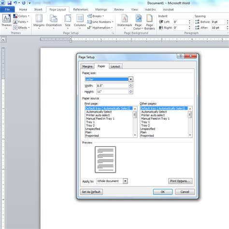 change page layout a3 word changing default paper size of microsoft word 2010