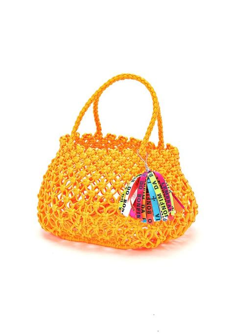 about macrame cara merajut motif pagar macrame bag accommode マクラメ編みミニバッグ オレンジ brands for friends ブランズ フォー