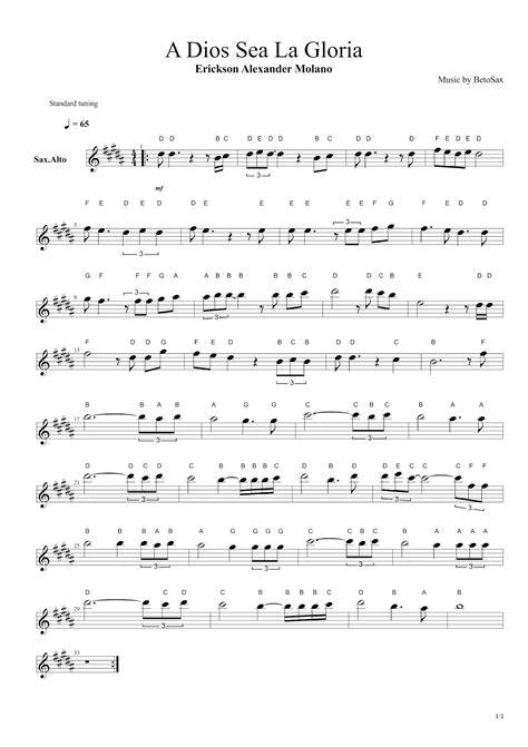 la gloria de dios acordes notas cristianas para saxofon a dios sea la gloria