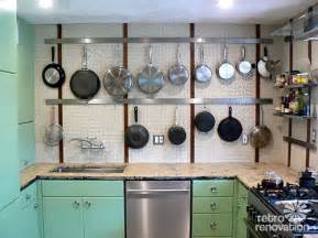 Brick Backsplash In Kitchen pegboard as pot rack in vintage kitchens retro renovation