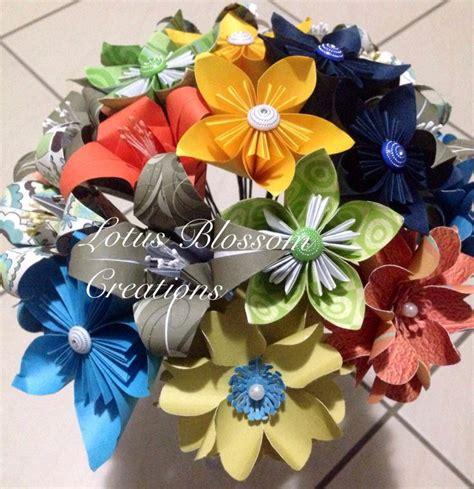 Handmade Bouquet Flowers - mixed handmade paper flower bouquet lotus blossom