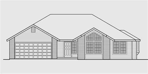 sketch plan for 3 bedroom house one level house plan 3 bedroom 2 bath 2 car garage 55 ft wide
