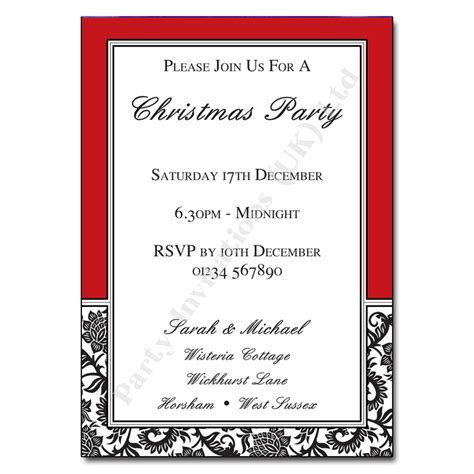 red black white christmas party invitation party invitations