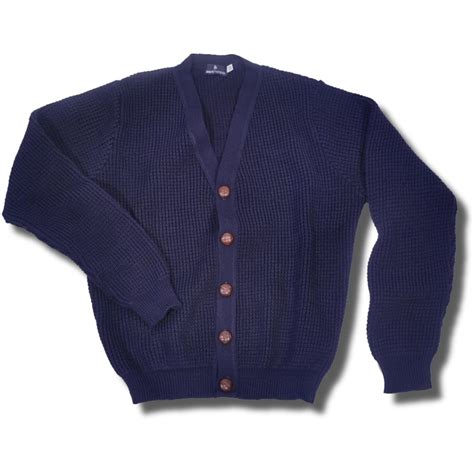 Navy Blue L by Skinhead Mod Waffle Knit Cardigan Quot Leather Quot Football