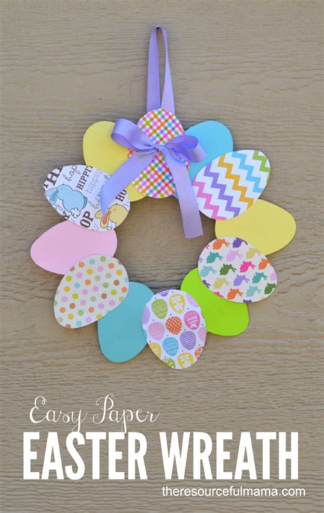 Simple Paper Crafts For Adults - easy paper easter wreath easter crafts easter and wreaths