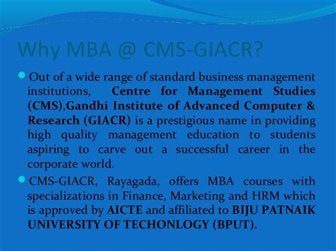 Mba In Banking And Insurance Subjects by A Profitle Of Cms Giacr