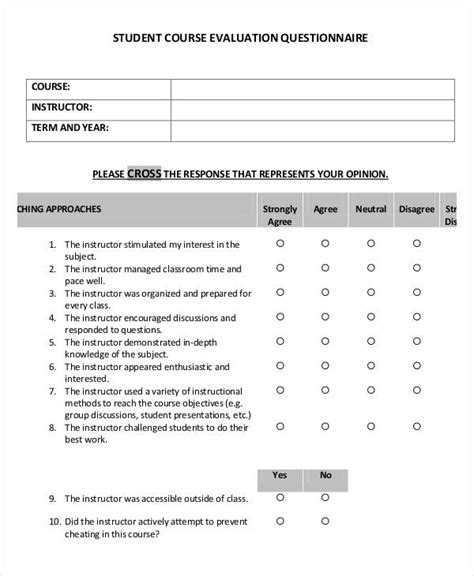 Student Evaluation Form Template Student Evaluation Form Template