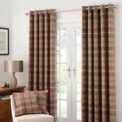 dunlem curtains highland check plum lined eyelet curtains dunelm
