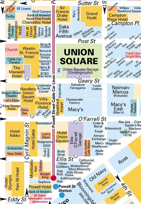 san francisco map of union square サンフランシスコ カリフォルニア ユニオン スクエア周辺地図