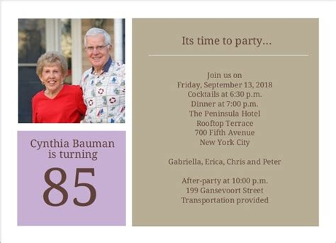 Simple Squares 85th Birthday Invitation 80th Birthday Invitations 85th Birthday Invitation Template