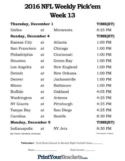 printable nfl schedule office pool weekly fillable schedule just b cause