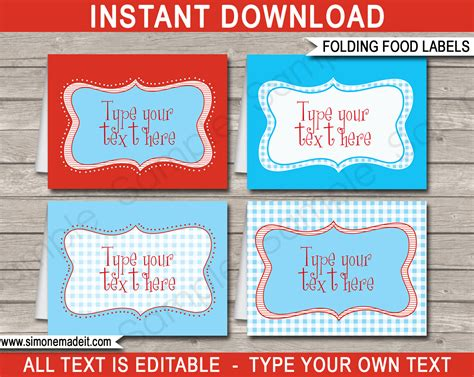 food card template free wizard of oz theme food labels template place cards