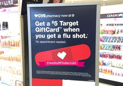Flu Shot Gift Card - free 5 target gift card with flu shot at target cvs pharmacy locations