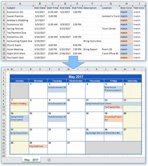 create  calendar  excel data