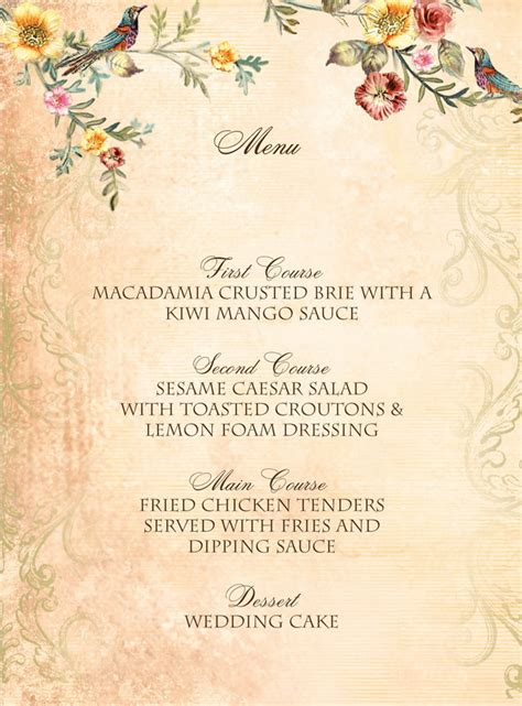 Wedding Menu Font Free by Vintage Birds Wedding Menu Featuring Charlemagne Font