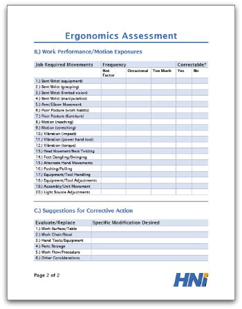 Ergonomics Assessment Ergonomic Report Template