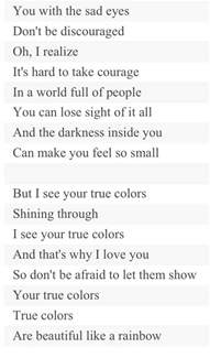 song true colors i see your true colors song lyrics