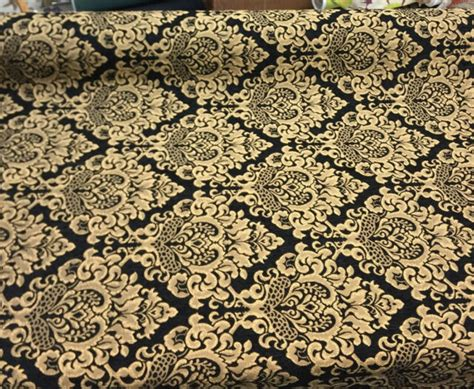 Black Chenille Upholstery Fabric by Chenille Damask Print Black Gold Cleopatra Furniture