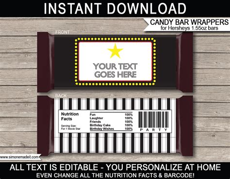 Hershey Bar Label Template
