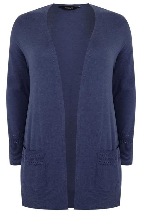 Cp Onb Cocoon Blouse denim blue longline cardigan with pointelle pocket cuff detail plus size 16 to 36
