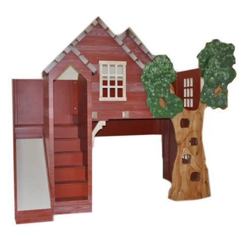 tree house loft bed rustic treehouse loft bed with slide