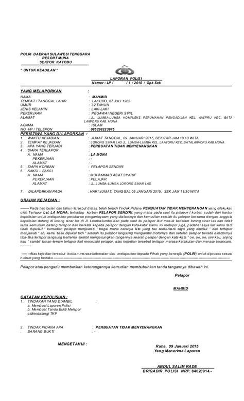 contoh laporan qc terbaru laporan polisi iii
