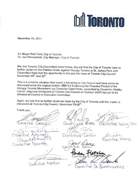 Request Letter To Municipality Occupy Toronto Protesters Served With Eviction Notices