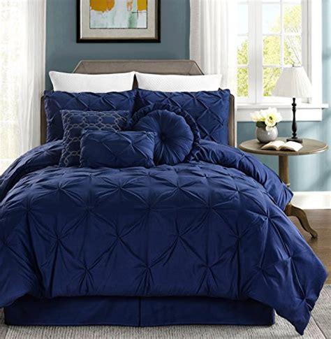 chezmoi bedding chezmoi collection sydney 7 piece pintuck bedding comforter set california king navy