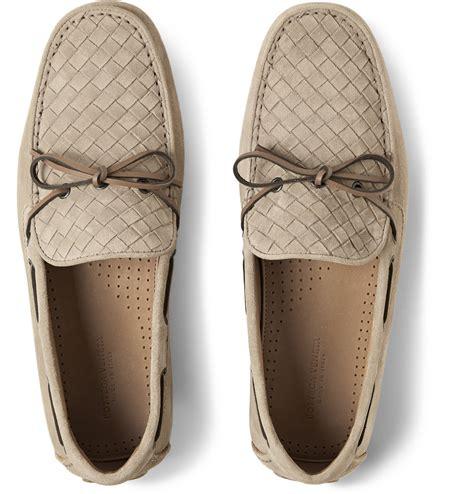 bottega veneta shoes bottega veneta intrecciato suede driving shoes in brown