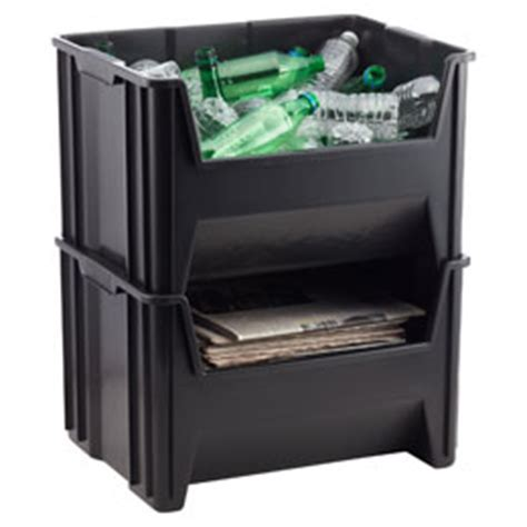 Black Stackable Recycle Bin   The Container Store
