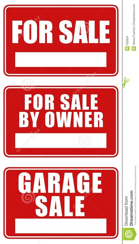 sle of z test for two sles for sale and garage sale signs stock illustration image
