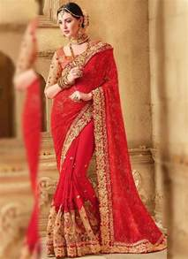 red embroidery booti work georgette   fancy wedding sarees pk vogue
