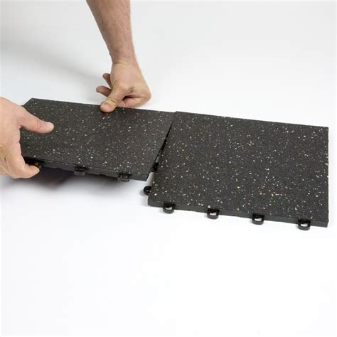 interlocking rubber floor tiles black w confetti flecks
