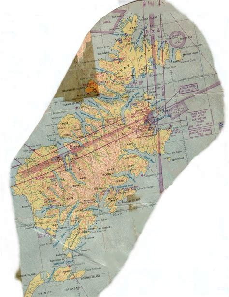 Sectional Air Map Made Of Plastic by Kodiak Alaska History Maps