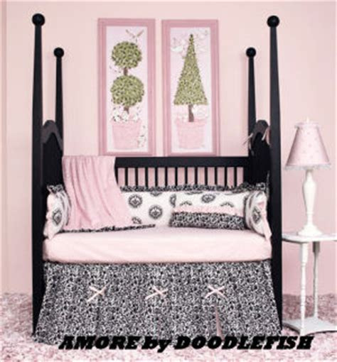Pink Black And White Crib Bedding Black Toile Baby Bedding Pink Black And White Toile Baby Bedding