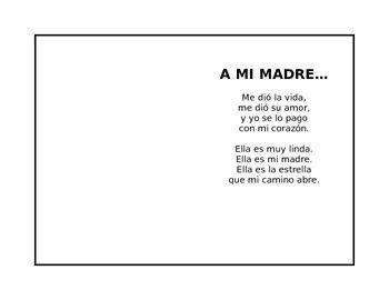 3 easy spanish short cute mother s day poem in spanish where kids can put their handprint draw something or put a