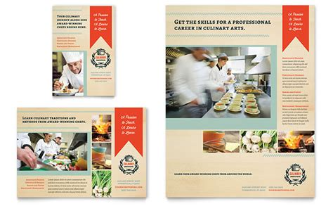 ad design layout ideas culinary school flyer ad template design