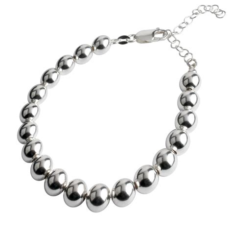 sterling silver 8mm bead bracelet