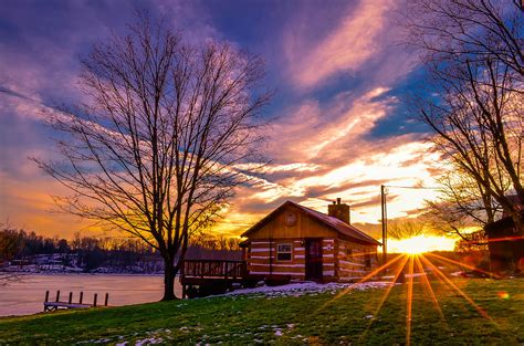 lake cabin sunset by brian