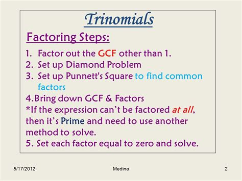 Factor The Common Factor Out Of Each Expression Worksheet by Factoring Trinomials Using The Punnett S Square Ppt