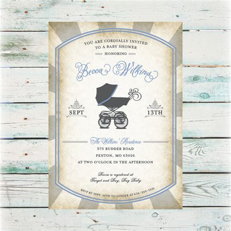 Boy Vintage Baby Shower by Vintage Baby Boy Shower Invitations Iidaemilia