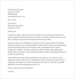 nanny cover letter sle nanny cover letter 3 free documents in word pdf
