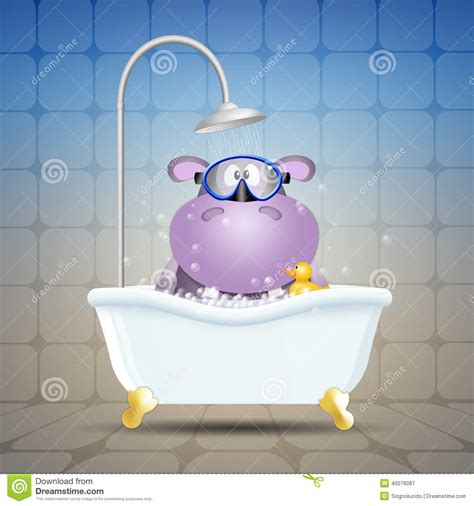 hippo in my bathtub hippo with diving mask on bath stock illustration image