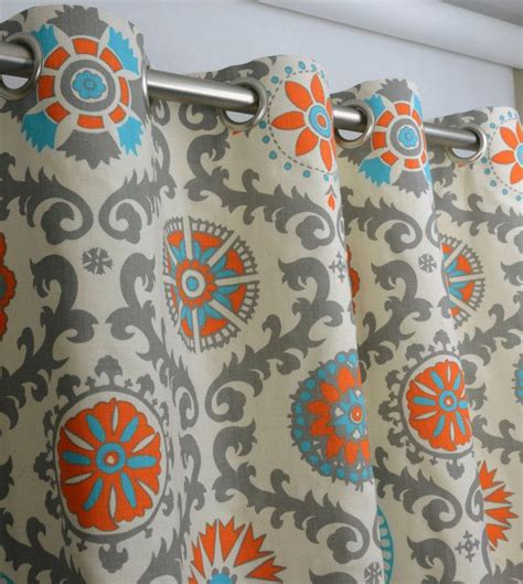Orange And Teal Curtains Pair Of Grommet Top Curtains In Mandarin Orange And Rosa Print Dossett On Etsy 185 00