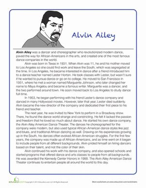 biography list for third grade alvin ailey biography worksheet education com
