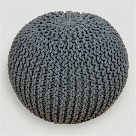 knitted pouf charcoal knitted pouf world market make room for baby